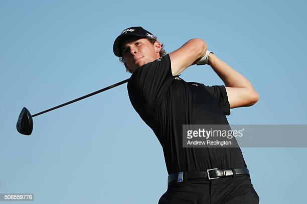 Thomas Pieters of Belgium tees off on the 16th hole during round four of the Abu Dhabi HSBC Golf Championship at the Abu Dhabi Golf Club on January...