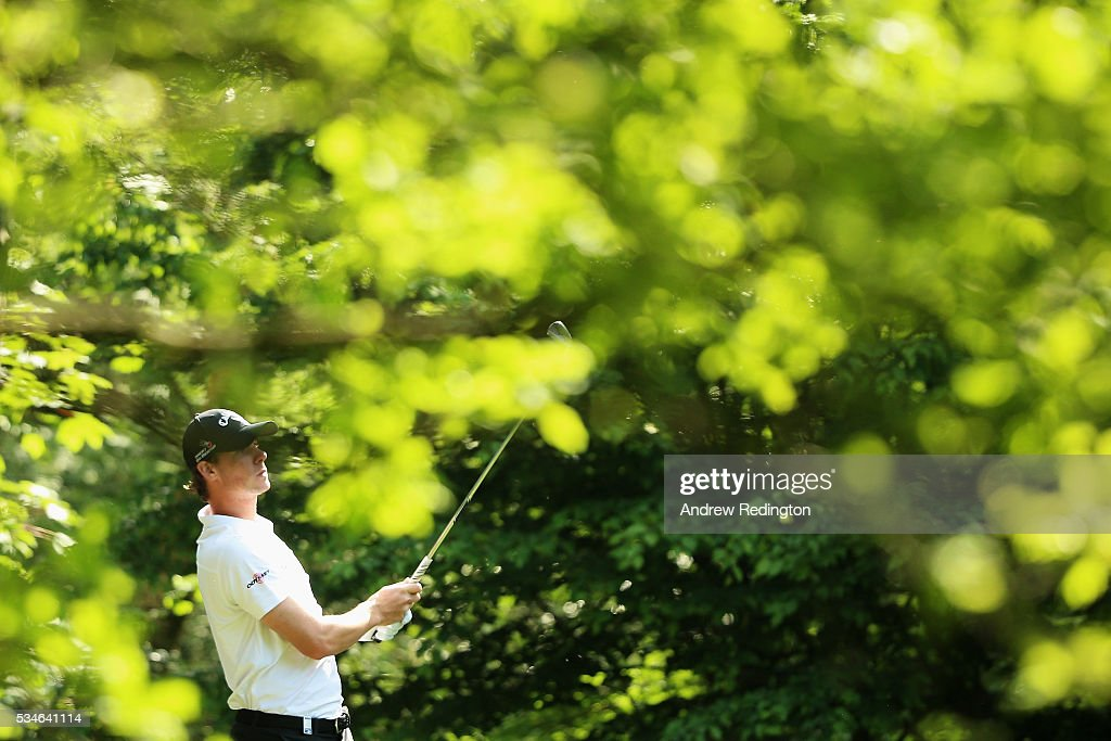 <a gi-track='captionPersonalityLinkClicked' href=/galleries/search?phrase=Thomas+Pieters&family=editorial&specificpeople=7157992 ng-click='$event.stopPropagation()'>Thomas Pieters</a> of Belgium tees off on the 5th hole during day two of the BMW PGA Championship at Wentworth on May 27, 2016 in Virginia Water, England.