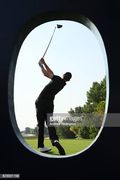 Thomas Pieters of Belgium tees off on the 8th hole during a proam round ahead of the DP World Tour Championship at Jumeirah Golf Estates on November...