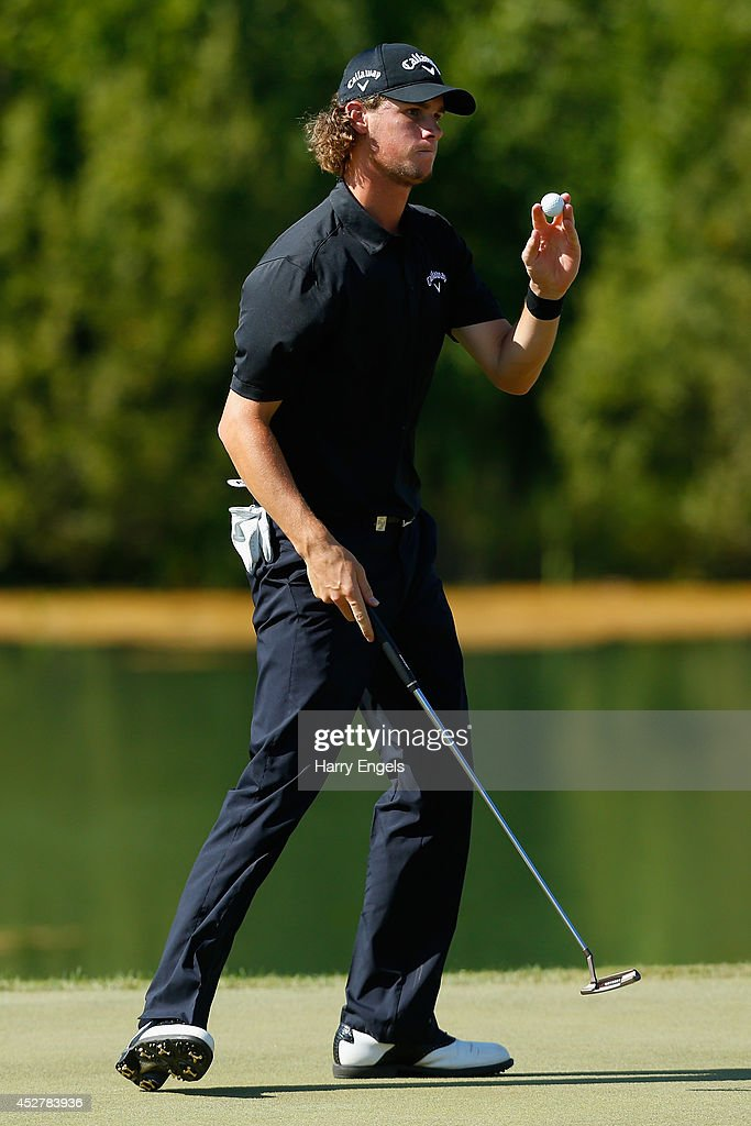 Thomas Pieters of Belgium thanks the crowd after finishing at the eighteenth on day four of the M2M Russian Open at Tseleevo Golf & Polo Club on July 27, 2014 in Moscow, Russia.