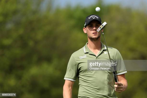 Thomas Pieters of Belgium walks on the 1st hole of his match during round one of the World Golf ChampionshipsDell Technologies Match Play at the...