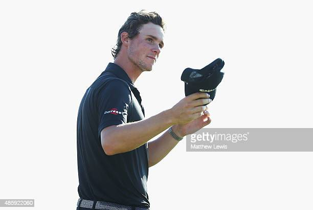 Thomas Pieters of Belguim celebrates after winning the DD Real Czech Masters at the Albatross Golf Resort on August 30 2015 in Prague Czech Republic