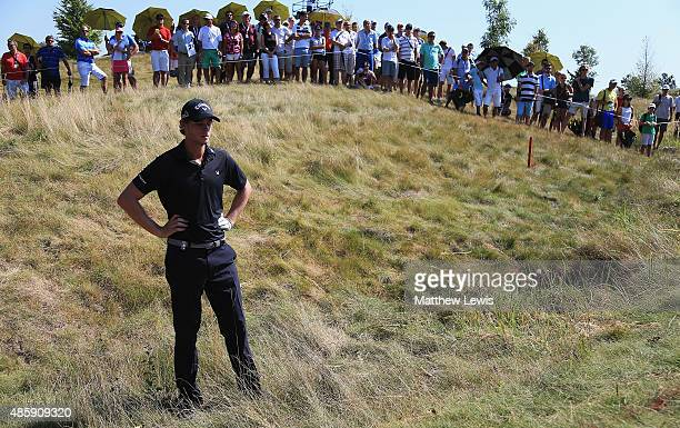 Thomas Pieters of Belguim looks on after his tee shot lands in the rough on the 3rd hole during day four of the DD Real Czech Masters at the...