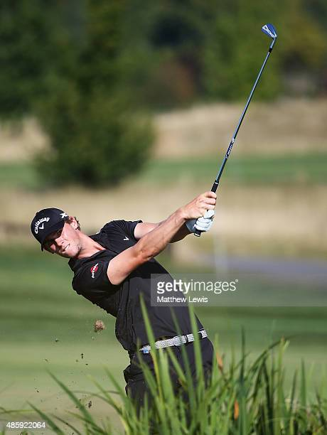 Thomas Pieters of Belguim plays a shot from the 17th fairway during day four of the DD Real Czech Masters at the Albatross Golf Resort on August 30...