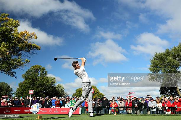 Thomas Pieters of Europe hits off a tee during practice prior to the 2016 Ryder Cup at Hazeltine National Golf Club on September 29 2016 in Chaska...