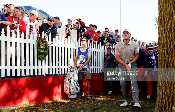 Thomas Pieters of Europe plays a shot on the ninth hole during afternoon fourball matches of the 2016 Ryder Cup at Hazeltine National Golf Club on...