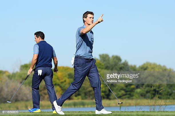 Thomas Pieters of Europe reacts on the seventh green during afternoon fourball matches of the 2016 Ryder Cup at Hazeltine National Golf Club on...