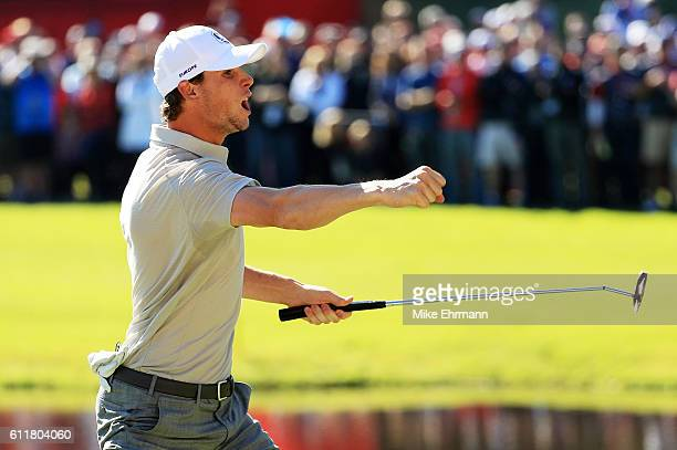 Thomas Pieters of Europe reacts to a putt on the 15th green during morning foursome matches of the 2016 Ryder Cup at Hazeltine National Golf Club on...
