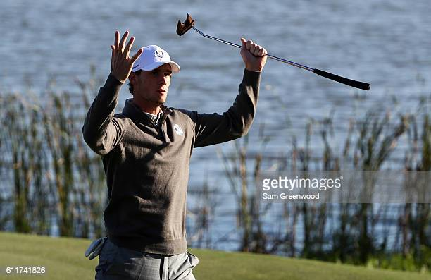 Thomas Pieters of Europe reacts to a putt on the seventh green during morning foursome matches of the 2016 Ryder Cup at Hazeltine National Golf Club...