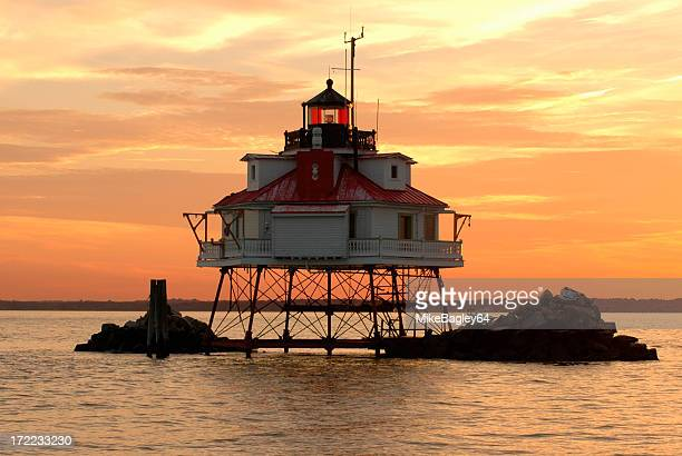 Thomas point lighthouse during a colorful sunset
