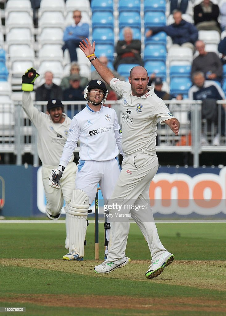 Thomas Poynton of Derbyshire is caught out by wicketkeeper <a gi-track='captionPersonalityLinkClicked' href=/galleries/search?phrase=Phil+Mustard&family=editorial&specificpeople=824851 ng-click='$event.stopPropagation()'>Phil Mustard</a> of Durham off the bowling of Chris Rushworth during the LV County Championship match between Derbyshire and Durham at The County Ground on September 12, 2013 in Derby, England.