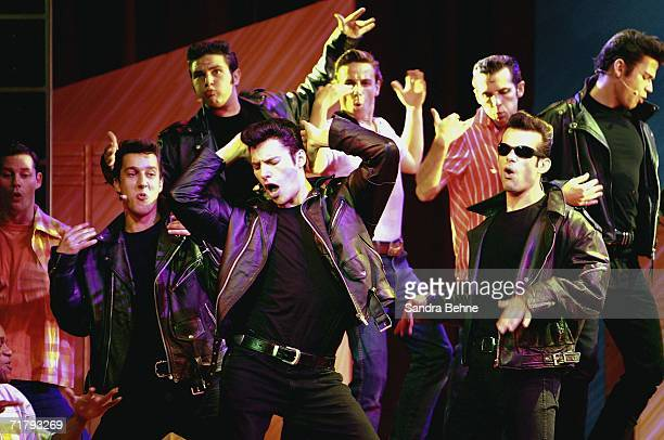 Thomas Puskailer as Danny performs on stage during a photocall for the musical 'Grease' on September 6 2006 in Munich Germany