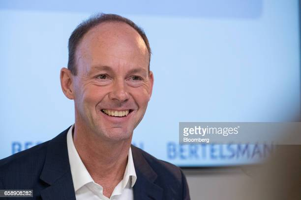 Thomas Rabe chief executive officer of Bertelsmann SE reacts during a news conference in Berlin Germany on Tuesday March 28 2017 Bertelsmann SE the...