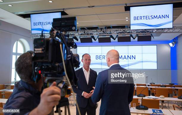Thomas Rabe chief executive officer of Bertelsmann SE speaks during a Bloomberg Television interview in Berlin Germany on Tuesday March 28 2017...