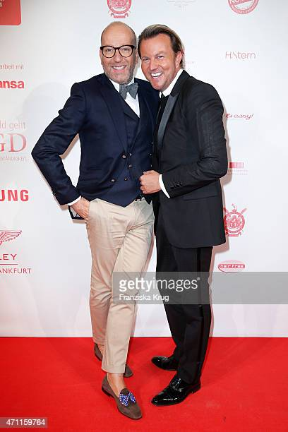Thomas Rath and his husband Sandro Rath attend the Fashion Charity Event 2015 in favor of the 'RTL Wir helfen Kindern' foundation at Unionhalle on...