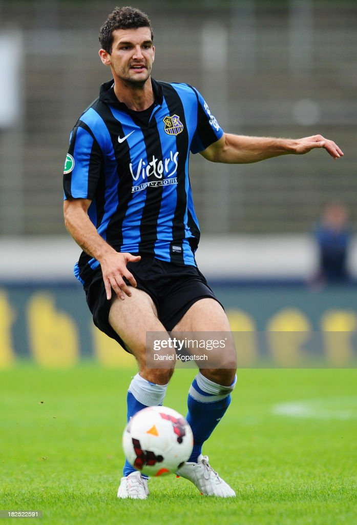 Thomas Rathgeber of Saarbruecken controls the ball during the third Bundesliga match between 1. FC Saarbruecken and Darmstadt 98 on September 28, 2013 in Saarbruecken, Germany.