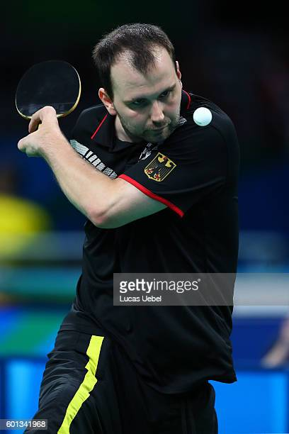 Thomas Rau of Germany competes in the men's singles Table Tennis Class 6 on day 2 of the Rio 2016 Paralympic Games at Riocentro Pavilion 3 on...