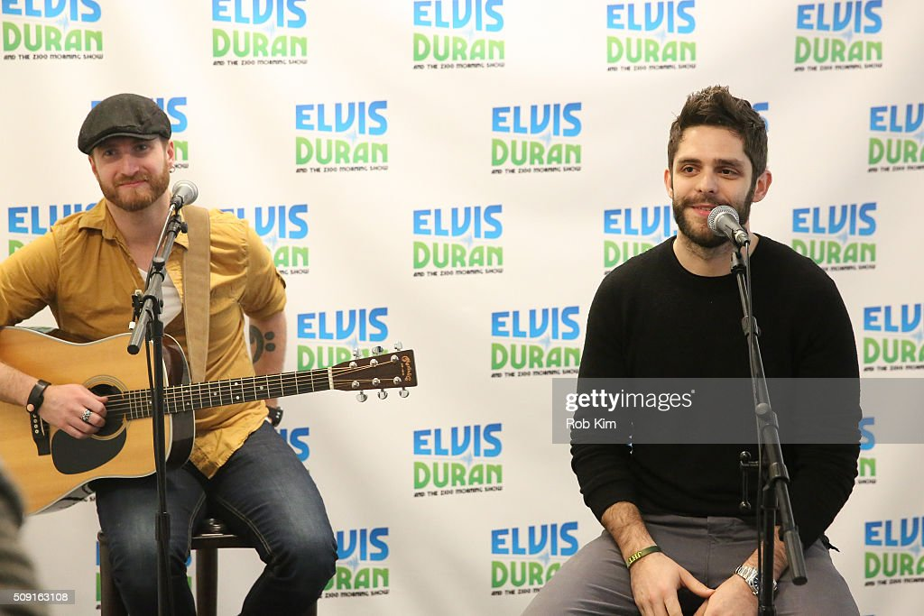 <a gi-track='captionPersonalityLinkClicked' href=/galleries/search?phrase=Thomas+Rhett&family=editorial&specificpeople=9092574 ng-click='$event.stopPropagation()'>Thomas Rhett</a> (R) performs a song at 'The Elvis Duran Z100 Morning Show' at Z100 Studio on February 9, 2016 in New York City.