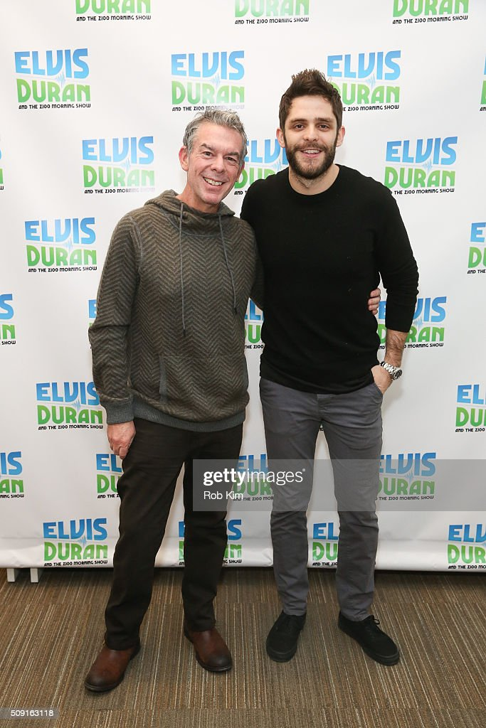 <a gi-track='captionPersonalityLinkClicked' href=/galleries/search?phrase=Thomas+Rhett&family=editorial&specificpeople=9092574 ng-click='$event.stopPropagation()'>Thomas Rhett</a> (R) poses with host <a gi-track='captionPersonalityLinkClicked' href=/galleries/search?phrase=Elvis+Duran&family=editorial&specificpeople=3048281 ng-click='$event.stopPropagation()'>Elvis Duran</a> at 'The <a gi-track='captionPersonalityLinkClicked' href=/galleries/search?phrase=Elvis+Duran&family=editorial&specificpeople=3048281 ng-click='$event.stopPropagation()'>Elvis Duran</a> Z100 Morning Show' at Z100 Studio on February 9, 2016 in New York City.