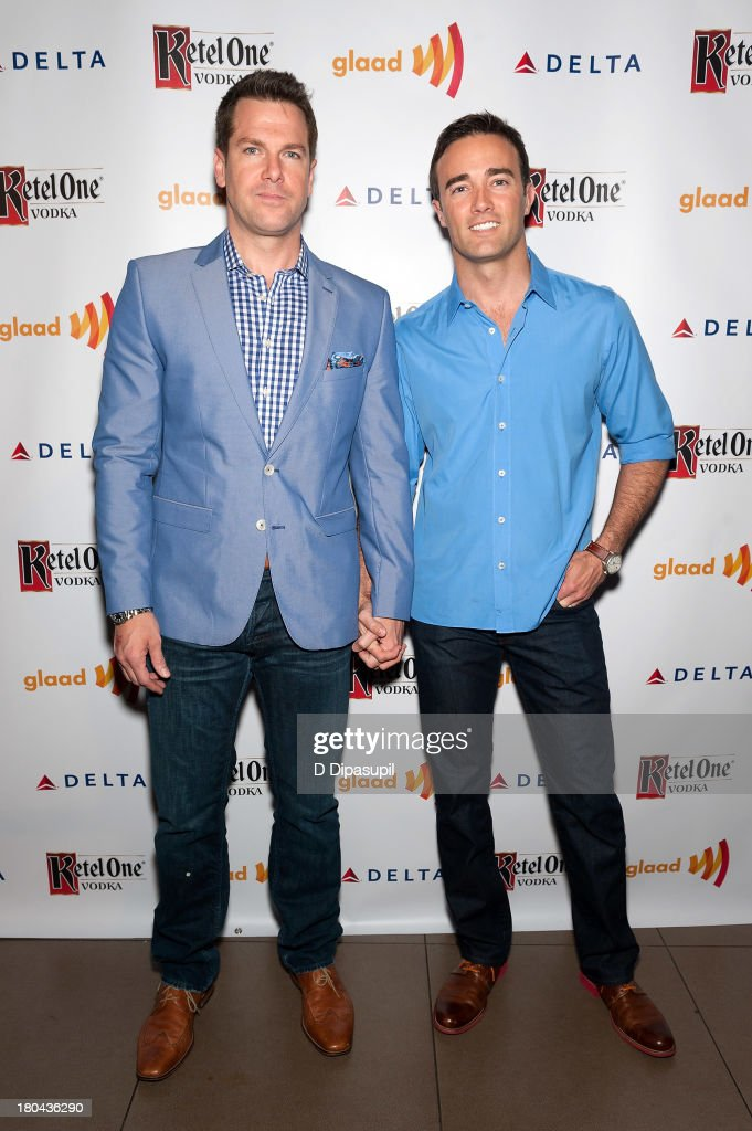 Thomas Roberts (L) and Patrick Abner attend the GLAAD Manhattan Summer 2013 Benefit at Gansevoort Park Avenue on September 12, 2013 in New York City.