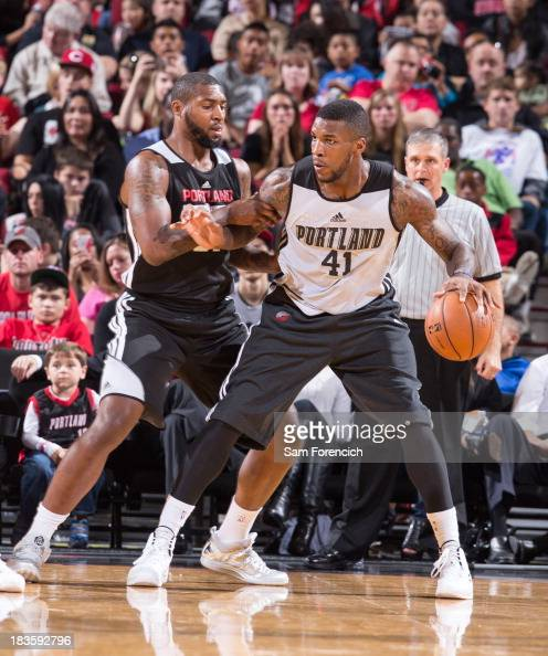 Thomas Robinson controls the ball against Richard Howell of the Portland Trail Blazers during the annual Fan Fest open practice October 6 2013 at the...
