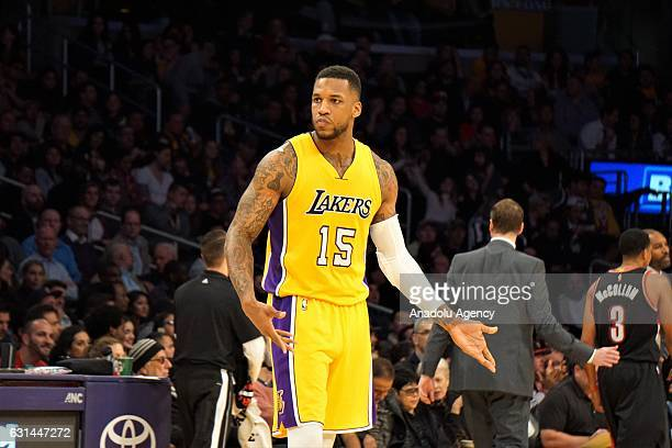Thomas Robinson of Los Angeles Lakers gestures during a NBA game between Los Angeles Lakers and Portland Trail Blazers at Staples Center in Los...