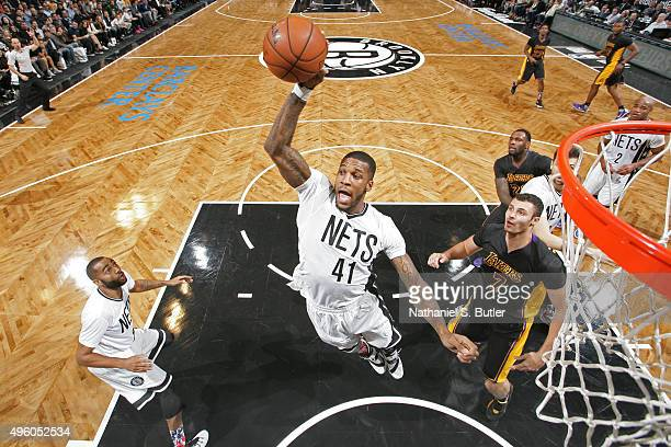 Thomas Robinson of the Brooklyn Nets grabs a rebound against the Los Angeles Lakers on November 6 2015 iat Barclays Center in Brooklyn New York NOTE...