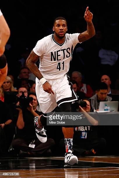 Thomas Robinson of the Brooklyn Nets in action against the Los Angeles Lakers at the Barclays Center on November 6 2015 in Brooklyn borough of New...