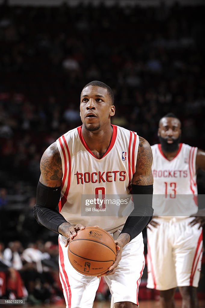 Thomas Robinson #0 of the Houston Rockets attempts a foul shot against the Milwaukee Bucks on February 27, 2013 at the Toyota Center in Houston, Texas.