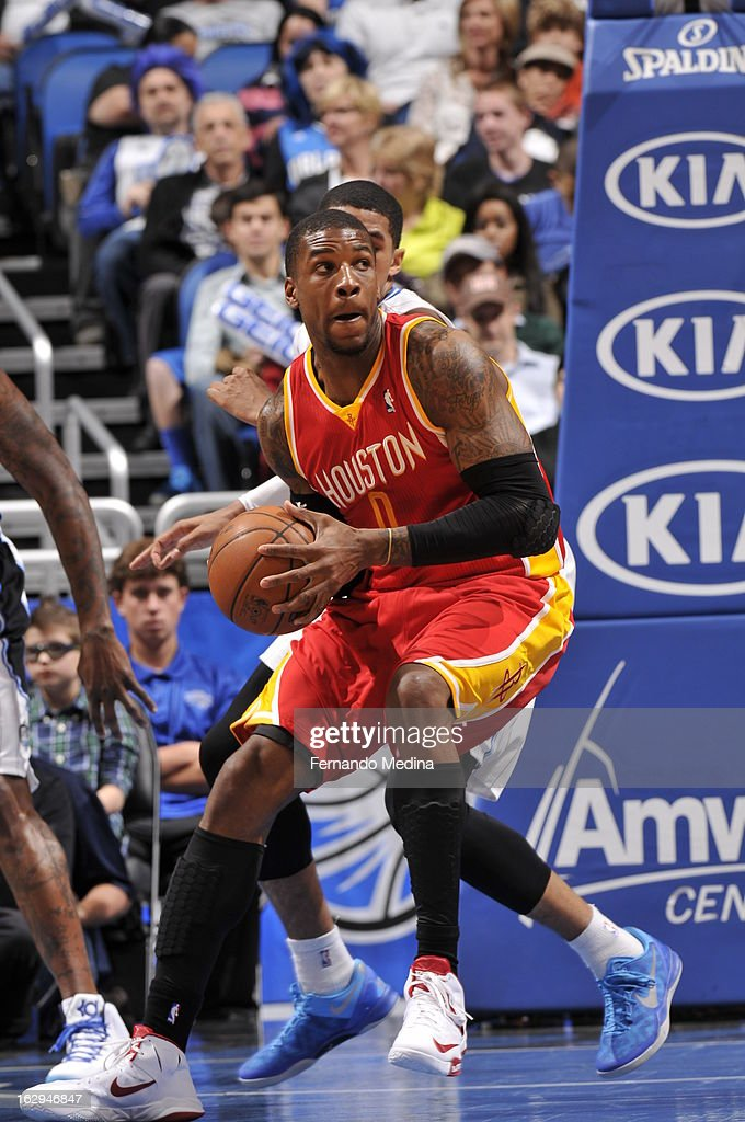 Thomas Robinson #0 of the Houston Rockets drives to the basket against the Orlando Magic during the game on March 1, 2013 at Amway Center in Orlando, Florida.