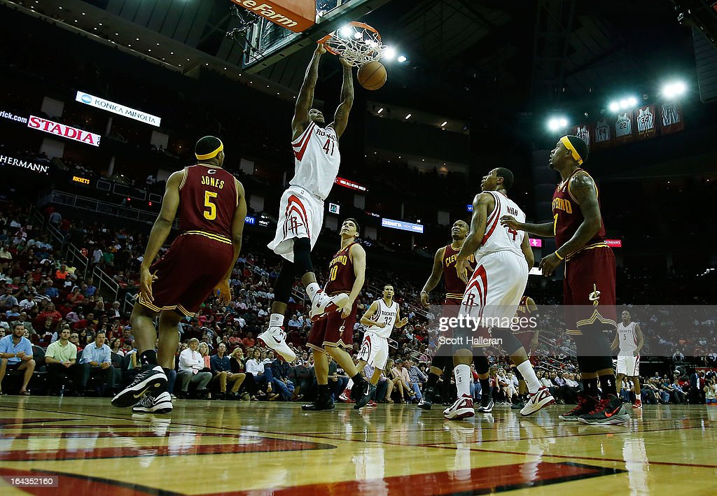 Thomas Robinson #41 of the Houston Rockets goes up for a shot during the game against the Cleveland Cavaliers at Toyota Center on March 22, 2013 in Houston, Texas.
