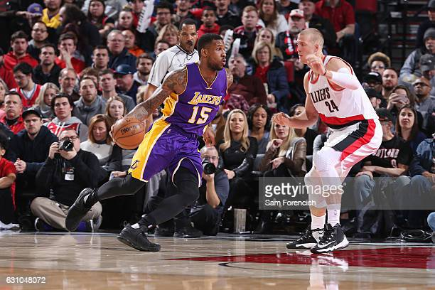Thomas Robinson of the Los Angeles Lakers drives to the basket against Mason Plumlee of the Portland Trail Blazers during the game on January 5 2017...