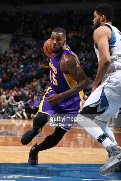 Thomas Robinson of the Los Angeles Lakers drives to the basket against the Minnesota Timberwolves on March 30 2017 at Target Center in Minneapolis...