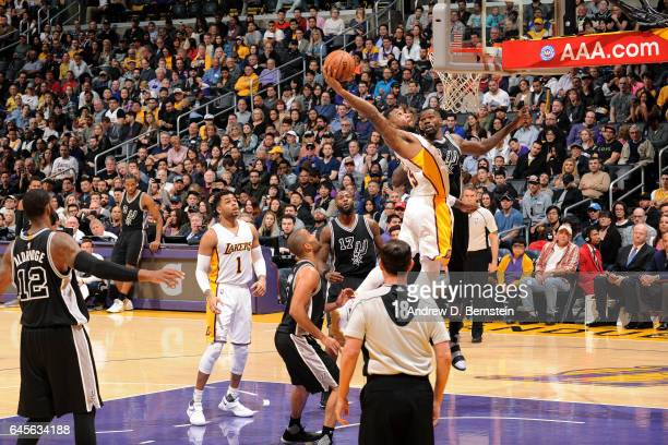 Thomas Robinson of the Los Angeles Lakers dunks the ball during the game against the San Antonio Spurs on February 26 2017 at STAPLES Center in Los...