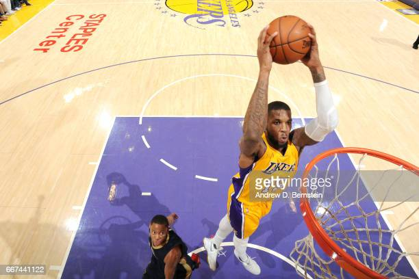 Thomas Robinson of the Los Angeles Lakers dunks the ball during the game against the New Orleans Pelicans on April 11 2017 at STAPLES Center in Los...