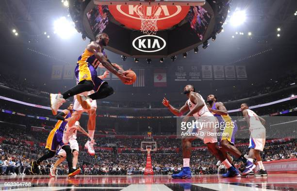 Thomas Robinson of the Los Angeles Lakers goes for a lay up against the LA Clippers during the game on April 1 2017 at STAPLES Center in Los Angeles...