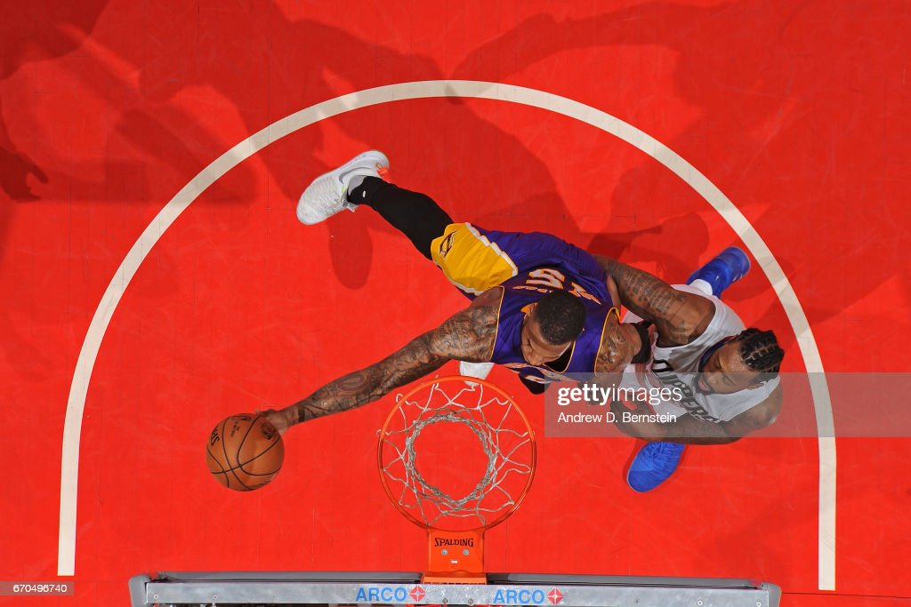 Thomas Robinson #15 of the Los Angeles Lakers goes to the basket against the LA Clippers on April 1, 2017 at STAPLES Center in Los Angeles, California.