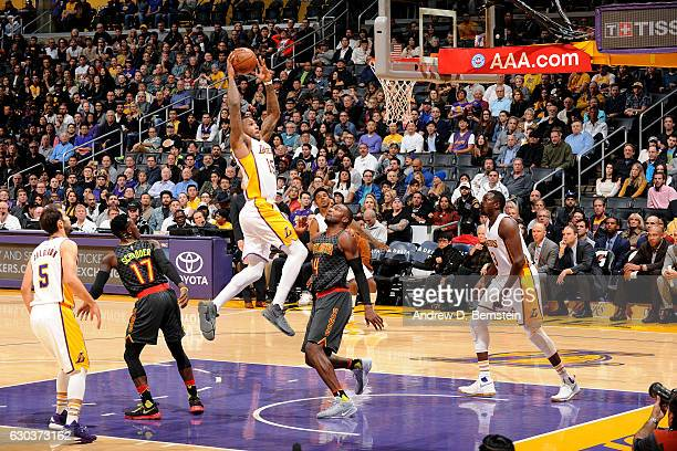 Thomas Robinson of the Los Angeles Lakers goes to the basket during the game against the Atlanta Hawks on November 27 2016 at STAPLES Center in Los...