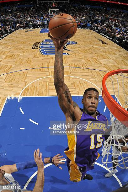 Thomas Robinson of the Los Angeles Lakers goes up for a dunk against the Orlando Magic on December 23 2016 at Amway Center in Orlando Florida NOTE TO...