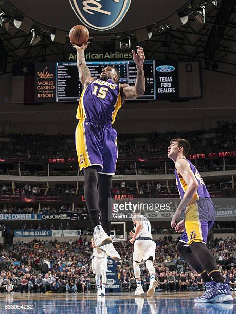 Thomas Robinson of the Los Angeles Lakers grabs the rebound against the Dallas Mavericks on January 22 2017 at the American Airlines Center in Dallas...