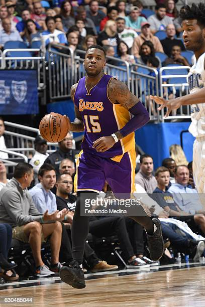 Thomas Robinson of the Los Angeles Lakers handles the ball against the Orlando Magic on December 23 2016 at Amway Center in Orlando Florida NOTE TO...