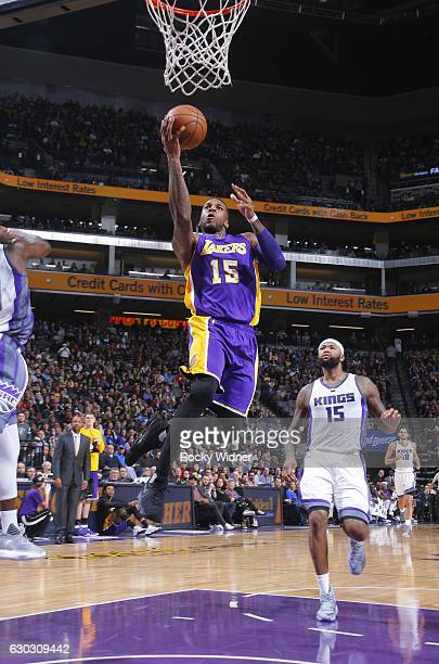 Thomas Robinson of the Los Angeles Lakers shoots a layup against the Sacramento Kings on December 12 2016 at Golden 1 Center in Sacramento California...