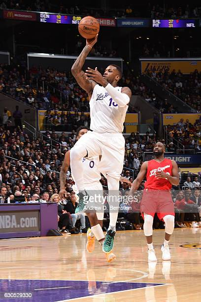Thomas Robinson of the Los Angeles Lakers shoots the ball against the LA Clippers on December 25 2016 at STAPLES Center in Los Angeles California...