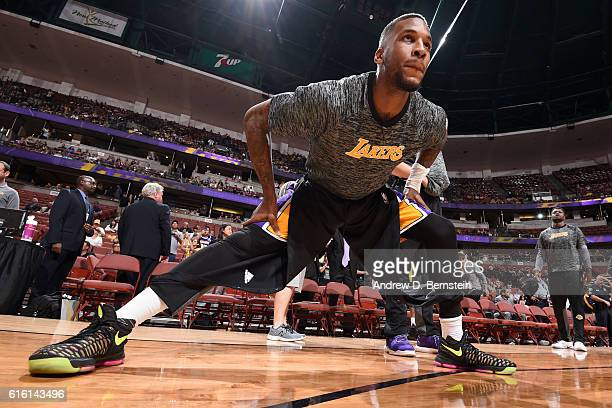 Thomas Robinson of the Los Angeles Lakers stretches before a preseason game against the Phoenix Suns on October 21 2016 at Honda Center in Anaheim...