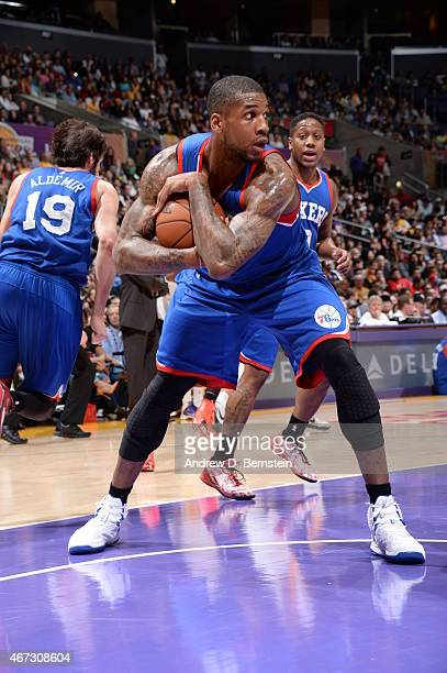 Thomas Robinson of the Philadelphia 76ers grabs the rebound against the Los Angeles Lakers on March 22 2015 at Staples Center in Los Angeles...