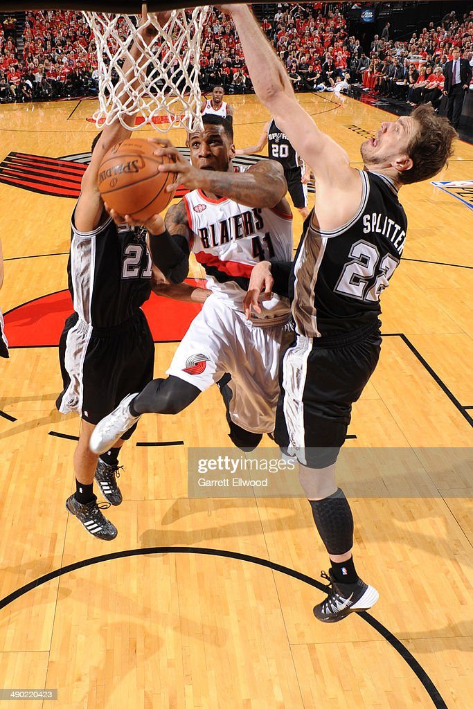Thomas Robinson #41 of the Portland Trail Blazers drives to the basket in Game Three of the Western Conference Semifinals against the San Antonio Spurs during the 2014 NBA Playoffs on May 10, 2014 at the Moda Center in Portland, Oregon.