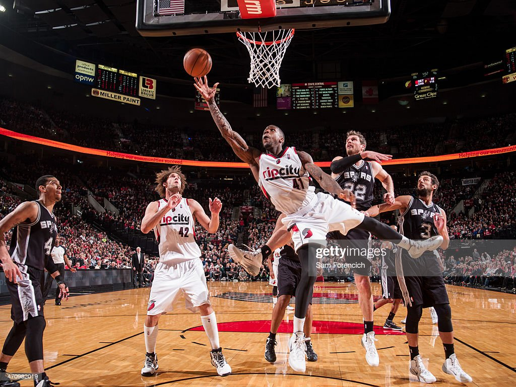 Thomas Robinson #41 of the Portland Trail Blazers drives to the basket against the San Antonio Spurs on February 19, 2014 at the Moda Center Arena in Portland, Oregon.