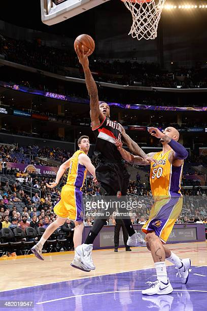 Thomas Robinson of the Portland Trail Blazers drives to the basket against the Los Angeles Lakers at Staples Center on April 1 2014 in Los Angeles...