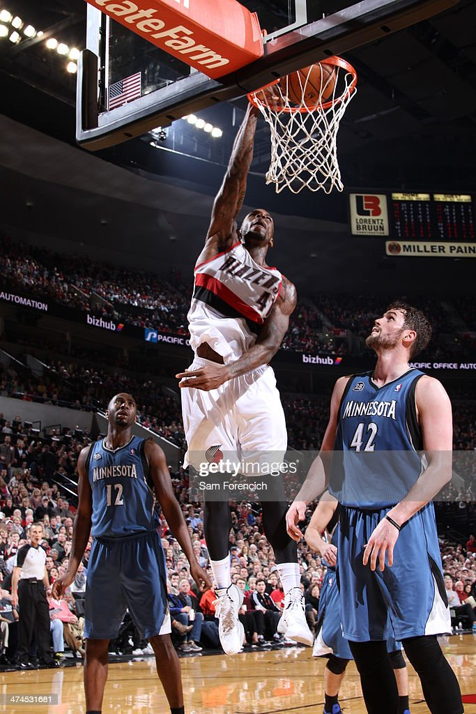 Thomas Robinson #41 of the Portland Trail Blazers dunks during a game against the Minnesota Timberwolves on February 23, 2014 at the Moda Center Arena in Portland, Oregon.