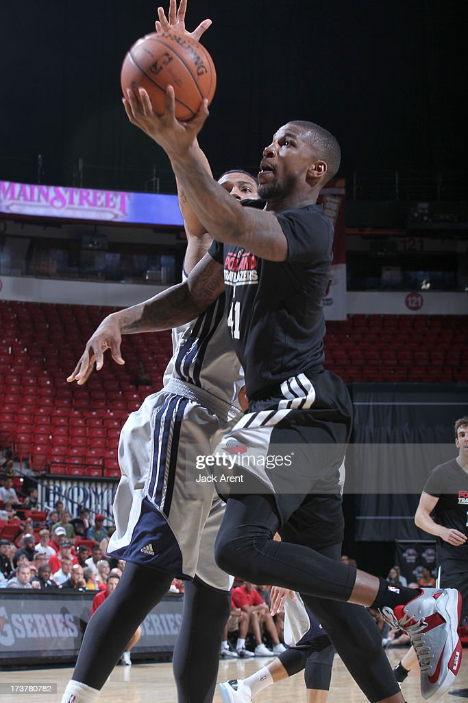 Thomas Robinson #41 of the Portland Trail Blazers goes to the basket during the NBA Summer League game between the Atlanta Hawks and the Portland Trail Blazers on July 17, 2013 at the Thomas & Mack Center in Las Vegas, Nevada.